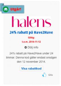Halens 24% rabatt